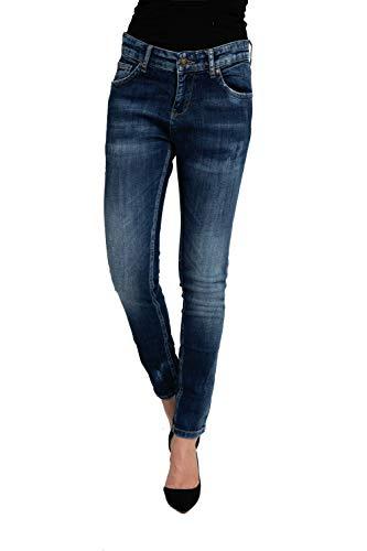 Zhrill Damen Jeanshose Röhrenjeans Cropped 5 Pocket Slim Fit Charly, Farbe:W7298 - Blue, Größe:W29 / L30