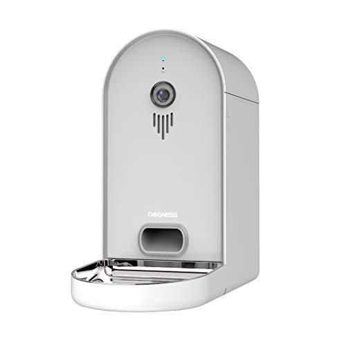 DOGNESS Automatischer Futterautomat mit Kamera und Audioübertragung, Smarter 6L WLAN Futterspender für Trockenfutter, App, Lautsprecher und Mikrofon, Futternapf für Hunde, Katzen und mehr (Weiß)