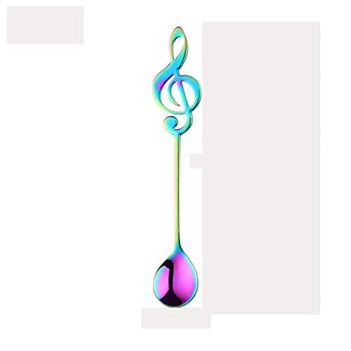 Cucharas Sopa Nota de la música cucharas cucharillas colorido Cuchara de postre, acero inoxidable 304 notación musical en forma de cucharas de café (multicolor) Cucharas de Acero Inoxidable