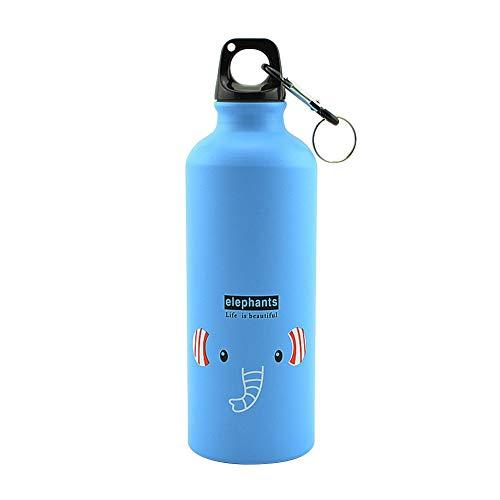 Ahomi - Botella de Agua de Aluminio con patrón de Dibujos Animados para Ciclismo al Aire Libre, Deportes para niños, Lago Elefante