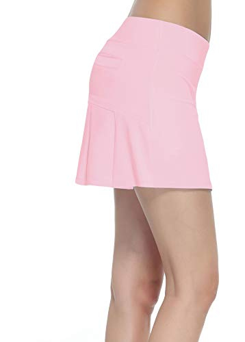 HonourSex Women Golf Skirts with Pockets Tennis Skirts with Shorts Skorts Activewear Hiking Pink XS