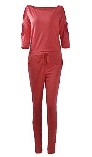 Minetom Damen Lässig Langarm Trägerlos Hosenanzug Jumpsuit Elegant Einfarbig Overall Playuit Spielanzug Lange Hose Rot DE - 3