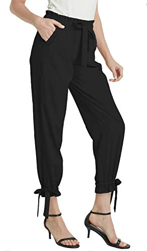 Grdela Womens Work Pants, Elastic Waist Casual Dress Pants for Women, High Waisted Pencil Pants for Work Black