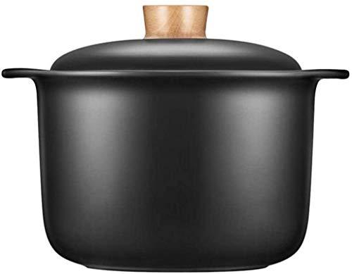 RONGJJ Cocotte, pour Cuisson Lente Casserole Saine à Deux Poignées en Grès Noir 2.5L, Black, 4.5L