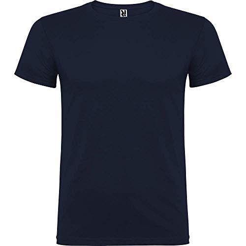 Camiseta básica de Manga Corta para Hombre, 100% algodón (Azul Marino, S)