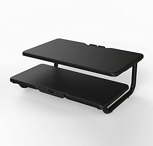 Metal Monitor Stand Riser, 2 Tiers Computer Monitor Stand, Monitor Riser Stand for Desk, Computer Stand for Desktop Monitor with Cellphone Holder and Cable Management, Bearing 44lbs