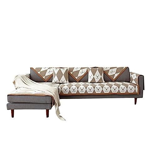 Minimalistisches Diamantmuster L-förmige Sofa-Schutzhüllen Couchbezug für Schnittsofa 1 2 3 4-Sitzer Chaise Furniture Protector,Kaffee,90 * 160 cm