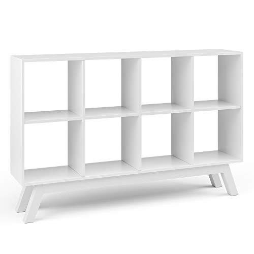 Vicco Raumteiler Scutum 8 Fächer Bücherregal Standregal Aktenregal Raumtrenner (Weiß + Fuß Weiß)
