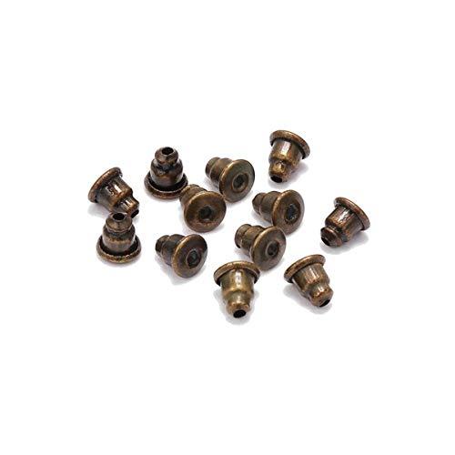 SNUIX Oreja de goma apoya 200pcs / lot Oro Pendiente de Obstrucción Bloqueado pendientes DIY joyería que hace los accesorios Suministros rodio (Color : Antique Bronze, Size : One Size)