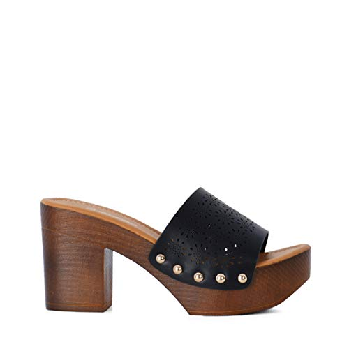 Altamoda Sandalia de Plataforma para Mujer Tacón de Madera Estilo Zuecos Negro (37 EU)