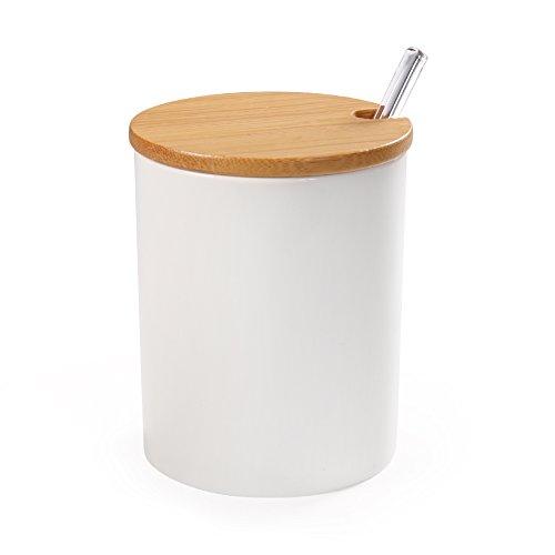 77L Zuccheriera in ceramica con cucchiaio di zucchero e coperchio di bambù per la casa e la cucina, design elegante, bianco, 320 ML (10,8 OZ)
