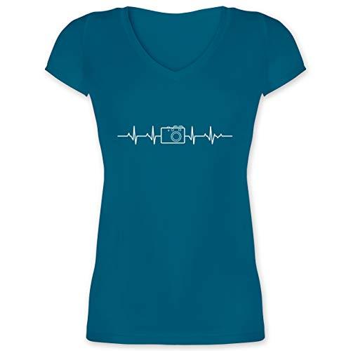 Symbole - Herzschlag Foto Kamera - M - Türkis - t-Shirt Herzschlag Kamera - XO1525 - Damen T-Shirt mit V-Ausschnitt