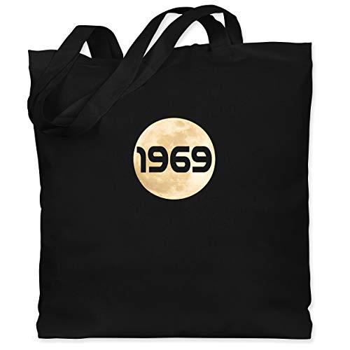 Shirtracer Nerds & Geeks - Mondlandung 1969 - Unisize - Schwarz - Fun - WM101 - Stoffbeutel aus Baumwolle Jutebeutel lange Henkel