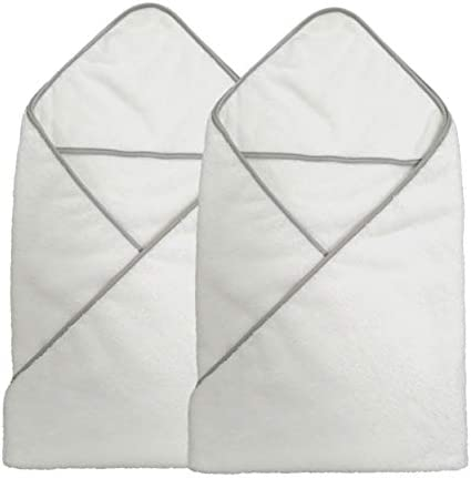 Polyte Premium Hypoallergenic Microfiber Hooded Baby Bath Towel 36 x 36 in 2 Pack White product image