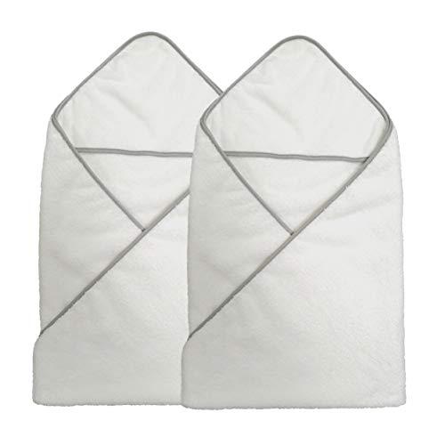 Polyte - 2 Capes de Bain bébé en Microfibres Premium - Capuche - hypoallergénique - Blanc - 91,4 x 91,4 cm