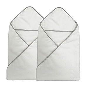 Polyte - Toalla de baño de Microfibra hipoalergénica para bebés - con Capucha - Premium - Blanco - 91,4 x 91,4cm - Pack de 2
