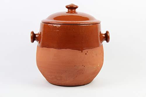Olla de barro, hecha a mano tradicionalmente, 9 litros, con 2 asas y tapa. De muy buena calidad. 5,4 kg Totalmente artesanal.