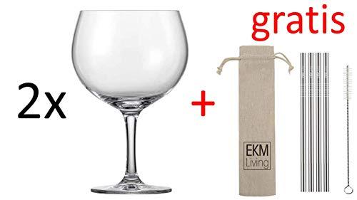 Schott Zwiesel 2er Set, Bar Special, Gin Tonic, Kristallglas, 696 ml, 120017 + Gratis 4er Set EKM Living Edelstahl Trinkhalme