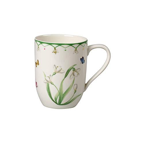 Villeroy und Boch Colourful Spring Kaffeebecher, 340 ml, Premium Porzellan, Weiß/Bunt