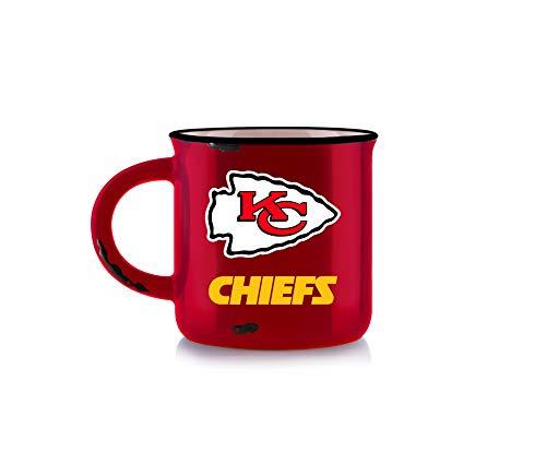 NFL Kansas City Chiefs Unisex-Tasse aus Knochenporzellan, Vintage-Stil, Rot, 340 ml