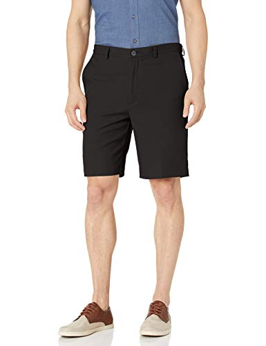 Haggar Men's Cool 18 Pro Straight Fit Stretch Solid Flat Front Short, Black, 36