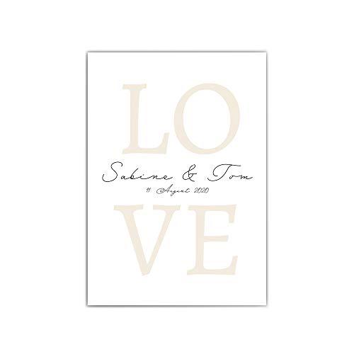 Personalisiertes Poster Liebe - Din A4 | 30x40 cm – Namen & Datum personalisiertes Bild - Personalisiertes Geschenk Hochzeit - Bild für Paare - LOVE - ohne Bilderrahmen