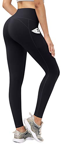 TQD High Waisted Yoga Pants for Women,WorkoutLeggingswith Pockets Tummy Control 4 Ways Stretch Black