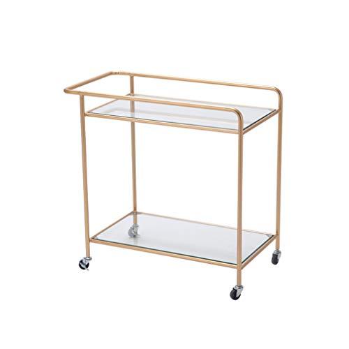 Organisateur d'espace de travail Table de loisirs en fer, table d'art créative en fer sur deux étages, petite charrette, table basse, table à manger, table en métal (Color : Gold)