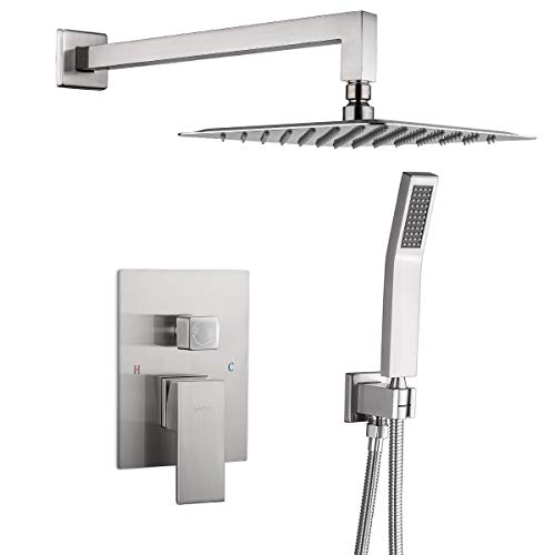 GAPPO Shower System Brushed Nickel Wall Mounted High Pressure Rain Shower Head System Rainfall Shower Faucet Shower Combo Set with Handheld Rough-in Valve Included