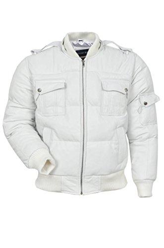 Le Pilote Bomber Six Puffer 'à Capuche pour Hommes Couleur Blanc Véritable Real Leather Jacket Veste DE Cuir (2XL)