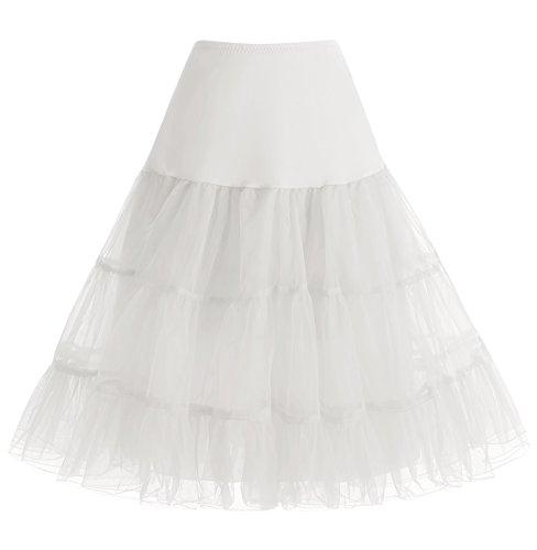 HomRain 1950 Petticoat Vintage Retro Unterrock Reifrock Underskirt Crinoline für Rockabilly Kleid Festliche Damenrock Ivory L