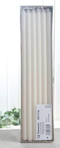 CandleCorner Stabkerzen, 30 x 1,2 cm Ø, 12er-Pack, wollweiß-Creme