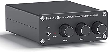 2 Channel Stereo Audio Amplifier Receiver Mini Hi-Fi Class D Integrated Amp 2.0CH for Home Speakers 100W x 2 with Bass and Treble Control TPA3116(with Power Supply) - Fosi Audio TB10A