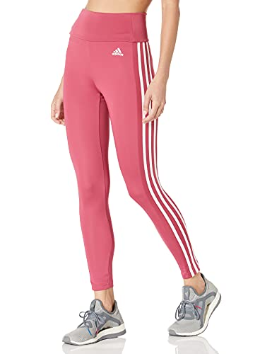 adidas Women's Standard Designed 2 Move High-Rise 3-Stripes 7/8 Tights, Wild Pink/White, Large