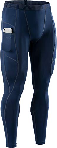 TSLA Men's Compression Pants, Cool Dry Athletic Workout Running Tights Leggings with Pocket/Non-Pocket, Athletic Pocket Pants Navy, Small