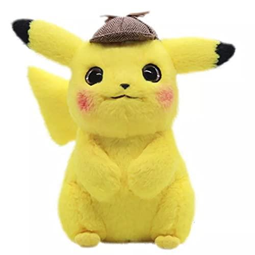 Betory 28Cm Detective Pikachu Peluches, Peluches Pikachu, Pikachu Peluche con Sombrero, Muñecos de Anime Regalos de cumpleaños de Navidad para niños