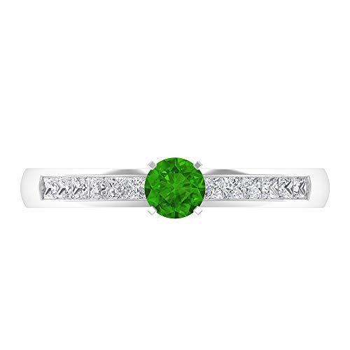 Rosec Jewels - Anillo solitario Tsavorite de 1/4 CT creado en laboratorio con piedra lateral de diamante, anillo de compromiso de oro (calidad AAAA), 14K Oro blanco, Size:EU 45