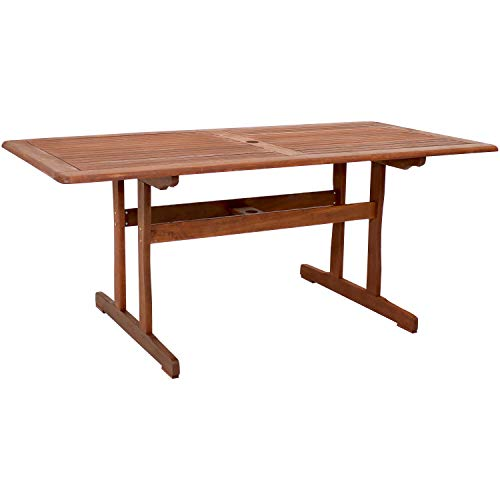 Sunnydaze Meranti Wood 6-Foot Dining Table with Teak Oil Finish - Outdoor Rectangle Dining Table - Perfect for Outdoor Entertaining - Ideal for The Backyard, Front Porch, Garden, Patio or Poolside
