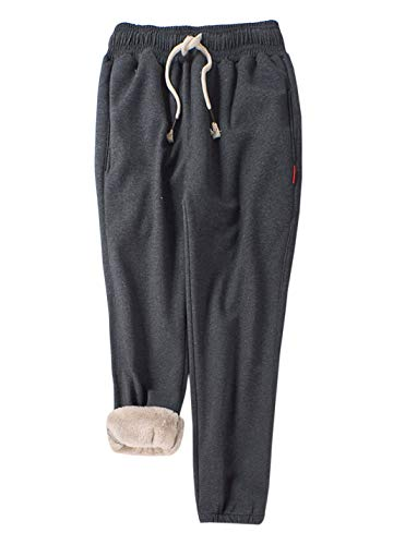 Gihuo Women's Winter Fleece Pants Sherpa Lined Sweatpants Active Running Jogger Pants (Dark Grey, Large)