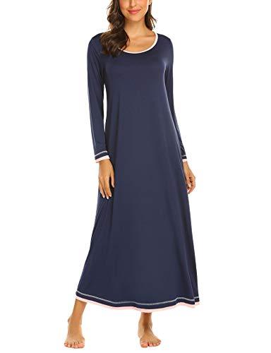 Brinol Damen Nachthemd Sleepshirt Schlafanzug Lang Ärmeln Locker Nachtwäsche Kontrastfarbe voller Länge Nachtkleid (S-XXL), Blau, EU 36(Herstellergröße: S)