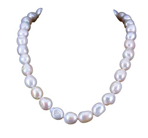 NicoWerk Damen Perlenkette Barockperle 10 11mm Collier aus 925 Sterling Silber Weiß Echte Perlen Zuchtperlen Kurz PKE128