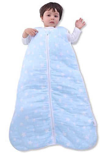 MioRico Premium Sacco Nanna Neonato Invernale 2.5 TOG, Sacco a Pelo per Bambini in Mussola di Cotone Biologico, Sacco Nanna Imbottito Senza Piedini in Blu, L'Alternativa Sicura alla Copertina Neonato