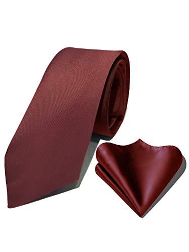 Barry.Wang Mens Solid Silk Tie Set 8 Solid Burgundy Navy Grey Red Purple Tie