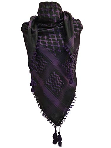 Unisex Black Purple Shemagh Head Scarf Arab Neck Wrap Cotton Army Face Cover