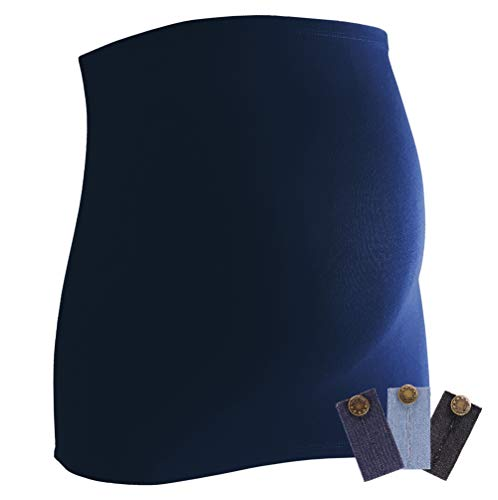Mamaband Grossesse Bande ventrale pour la boule de bébé + 3 extensions Jean – Chauffe-dos et rallonge de t-shirts pour femmes enceintes – Mode élastique - Bleu - Medium