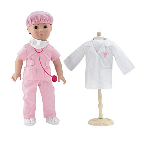Emily Rose 18 Inch Doll Clothes | Complete 6-Piece Doctor or Nurse Hospital Pink Scrubs Outfit, Including Stethoscope! | Perfect Halloween Costume! | Fits American Girl Dolls