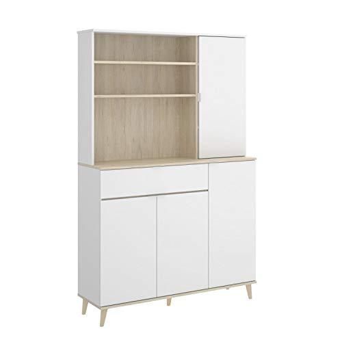 HABITMOBEL Mueble Zapatero Auxiliar un Hueco con estantes, un cajón y Tres Compartimentos con Puertas