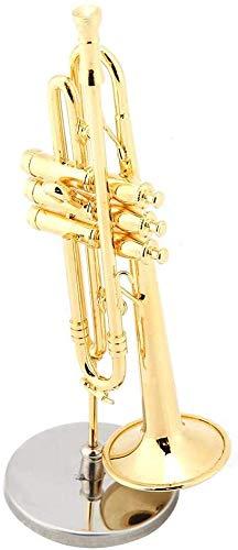HEEPDD Adornos Musicales, réplica de Trompeta en Miniatura con Soporte y Estuche Modelo de Instrumento Chapado en Oro Adornos Musicales