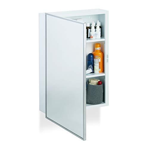 Relaxdays Spiegelschrank Bad, Hängeschrank, eintüriger Wandschrank aus Stahl, mit 3 Ablagen, HBT: 56x40,5x12,5 cm, weiß