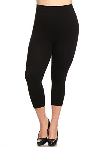 YELETE Legwear High Waist Compression Capri Leggings, Plus Size, CP518SDP_BLK Black Tummy Control